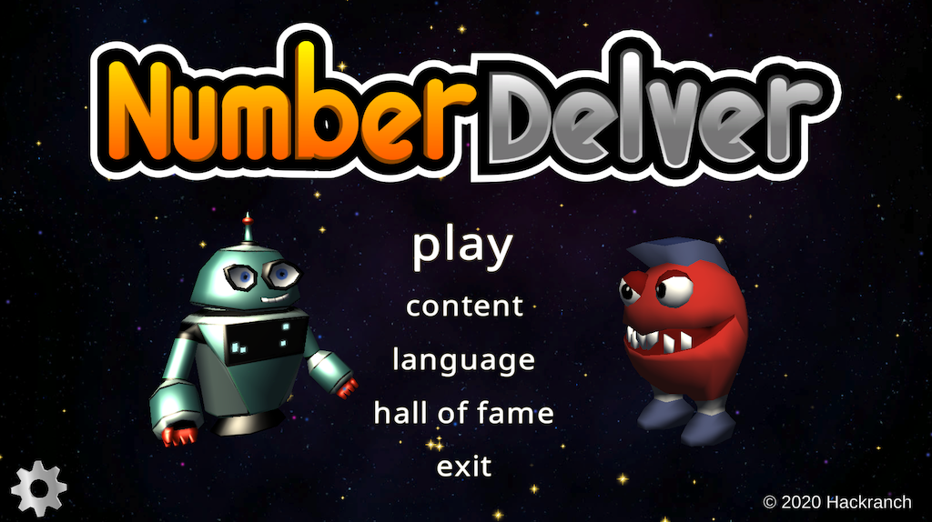 Screenshot of Number Delver main menu.